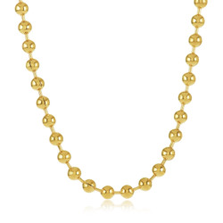 3.3mm 14k Yellow Gold Plated Ball Military Bead Chain Necklace