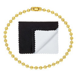 3.3mm 0.25 mils (6 microns) 14k Yellow Gold Plated Round Bead Chain Necklace, 7'-36 + Jewelry Cloth & Pouch