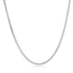 1.2mm Solid .925 Sterling Silver Square Box Chain Necklace