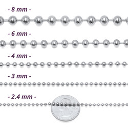 2mm-8mm High-Polished Stainless Steel Round Ball Chain Necklace, 16'-40' + Jewelry Cloth & Pouch