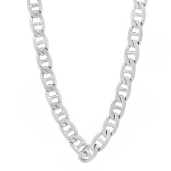 6mm Rhodium Plated Flat Mariner Chain Necklace
