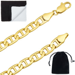 6mm 0.25 mils (6 microns) 14k Yellow Gold Plated Mariner Chain Necklace, 7'-30 + Jewelry Cloth & Pouch