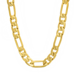 6.8mm 14k Yellow Gold Plated Flat Figaro Chain Necklace
