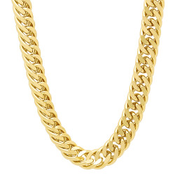 8.5mm Polished 14k Yellow Gold Plated Beveled Curb Chain Necklace