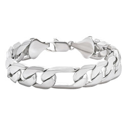 12mm Rhodium Plated Flat Figaro Chain Bracelet