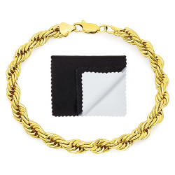 6.7mm 0.25 mils (6 microns) 14k Yellow Gold Plated Round Rope Chain Necklace, 7'-36 + Jewelry Cloth & Pouch
