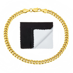 4mm 0.25 mils (6 microns) 14k Yellow Gold Plated Beveled Curb Chain Bracelet, 7'-9 + Jewelry Cloth & Pouch