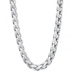 6mm Rhodium Plated Braided Wheat Chain Necklace