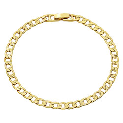 5mm 0.25 mils (6 microns) 14k Yellow Gold Plated Beveled Curb Chain Necklace, 7'-36 + Jewelry Cloth & Pouch