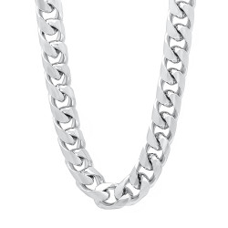 9.3mm Rhodium Plated Flat Cuban Link Curb Chain Necklace