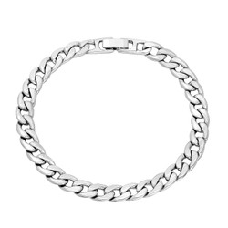 7mm Rhodium Plated Flat Curb Chain Bracelet