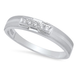 3.9mm Sterling Silver Italian Crafted Suspended Row of CZs Sandblasted Wedding Band + Polishing Cloth