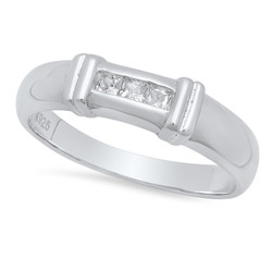 4.2mm Sterling Silver Italian Crafted Channel Set Trilogy Of Square CZ Wedding Band + Polishing Cloth