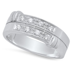 Sterling Silver Italian Crafted CZ Accented Baroque Double Row 7.4mm Wedding Band + Bonus Polishing Cloth