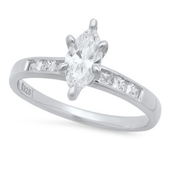 Marquise-Cut CZ Solitaire 2.9mm Sterling Silver Italian Crafted Square CZ Wedding Ring + Polishing Cloth