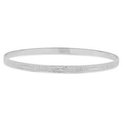 4mm Rhodium Plated Ridged Bangle Bracelet with Etched Design + Microfiber Polishing Cloth