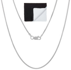 1.2mm High-Polished .925 Sterling Silver Square Box Chain Necklace, 14'-30 + Jewelry Cloth & Pouch