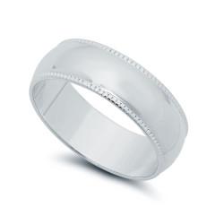 Wide Polished Rhodium Plated Milgrain Edges Wedding Band Ring + Microfiber