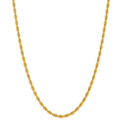 4mm 24k Yellow Gold Plated Stainless Steel Twisted Rope Chain Necklace