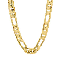9.3mm 14k Yellow Gold Plated Flat Figaro Chain Necklace