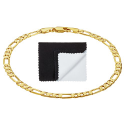 4mm High-Polished 0.25 mils (6 microns) 14k Yellow Gold Plated Flat Figaro Chain Necklace, 7'-36 + Jewelry Cloth & Pouch