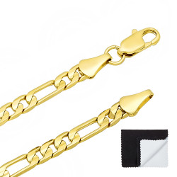 4mm-9mm 14k Yellow Gold Plated Flat Figaro Chain Necklace
