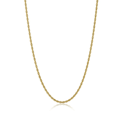 3mm 24k Yellow Gold Plated Stainless Steel Twisted Rope Chain Necklace