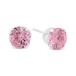 .925 Sterling Silver Nickel-Free Simulated Diamond Round-Cut Birthstone Stud Earrings