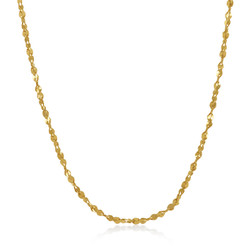 2mm 0.25 mils (6 microns) 14k Yellow Gold Plated Twisted Singapore Chain Necklace, 7'-36 + Jewelry Cloth & Pouch