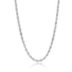 5.9mm High-Polished Silver Plated Stainless Steel Twisted Rope Chain Necklace