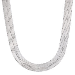 9mm Rhodium Plated Flat Herringbone Chain Necklace