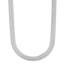 7.2mm Rhodium Plated Flat Herringbone Chain Necklace