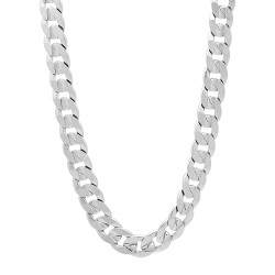 6.3mm Rhodium Plated Beveled Curb Chain Necklace