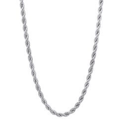 2.4mm High-Polished 0.25 mils (6 microns) Rhodium Plated Brass Round Rope Chain Necklace, 7'-30 + Jewelry Cloth & Pouch