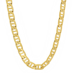 5mm 0.25 mils (6 microns) 14k Yellow Gold Plated Mariner Chain Necklace, 7'-30 + Jewelry Cloth & Pouch
