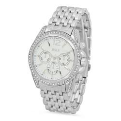 Rhodium Plated White Dial IEKE CZ Bezel Watch w/Trapezoidal Band + Microfiber