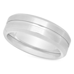 Brushed Titanium 6mm Comfort Fit Wedding Ring w/Polished Center Groove + Microfiber