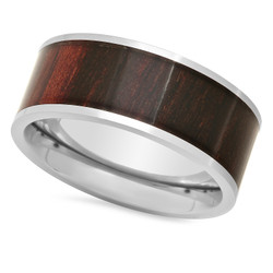 Titanium 9mm Comfort Fit Ring with African Blackwood Inlay + Microfiber