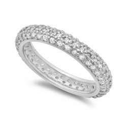 4mm Rhodium Plated Silver Triple Row Of Clear CZs Domed Eternity Band + Microfiber