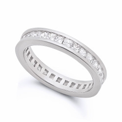 3.5mm Rhodium Plated Silver Channel Set Square Clear CZ Eternity Band + Microfiber