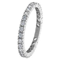 Rhodium Plated 925 Sterling Silver 2mm Round Clear CZ Eternity Band + Microfiber