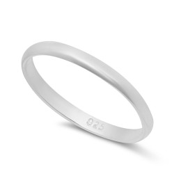 2mm 925 Sterling Silver Nickel-Free Domed Wedding Band - Made in Italy