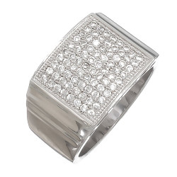Solid .925 Sterling Silver Rhodium Plated Ring Iced Out with Real Micro Pave CZ Stones + Bonus Polishing Cloth