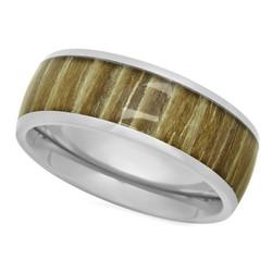Titanium 8mm Domed Comfort Fit Ring w/Ashen Zebra Rosewood Inlay + Microfiber