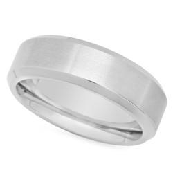 Titanium 8mm Comfort Fit Ring w/Brushed Center & Polished Edges + Microfiber