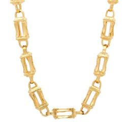 6mm Textured 14k Yellow Gold Plated Square Box Chain Necklace