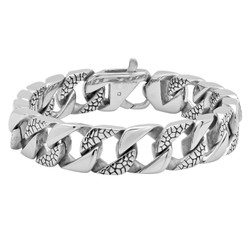 14.5mm High-Polished Stainless Steel Chunky Chain Link Bracelet, 9'10 + Jewelry Cloth & Pouch
