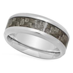 Titanium 8mm Comfort Fit Ring w/Charcoal Gray Carbon Fiber Inlay + Microfiber