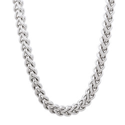 5mm High-Polished Stainless Steel Square Franco Chain Necklace