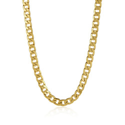 Men's 11.9mm 24k Yellow Gold Plated Stainless Steel Flat Cuban Link Curb Chain Necklace